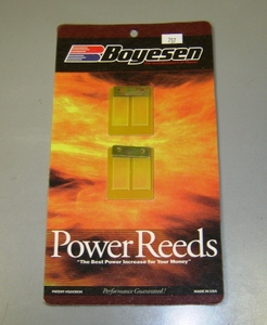 Boysen Power Reeds - Yamaha RD250/350/400 and RD250/350LC Boyesen's patented dual-stage design incorporates a specially shaped top reed and ported bottom reed. The top reed is lightweight and resilient for crisp throttle response at partial throttle or low RPM. The stiffer