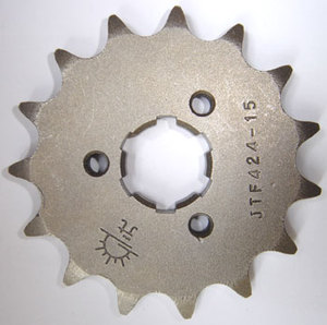 Yamaha RZ350 Front Sprocket by JT (Countershaft Sprocket). Computer designed to achieve ultimate strength at minimum weight. JT combines leading-edge technology with top materials to produce the ultimate quality sprocket. All sprockets are heat-treated and sandblasted to reduce material surface tension. Every sprocket meets or exceeds the highest possible quality standards set for the motorcycle industry. Sprockets made with C45 and chromoly steel alloy. Available in 10-17 teeth. 520 pitch. Sample picture