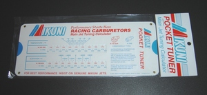 A handy pocket-size slide calculator which can be used to determine required jetting changes in Mikuni Carburetors due to climate and temperature changes. The Pocket Tuner is applicable to both single and multi-carburetor applications on two-stroke and four-stroke engines. It also has a guide for determining rich or lean carburetor conditions.