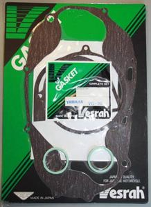 Vesrah Gasket Set for 1976-78 RD400. Gasket set includes the following:Head gasket x 2Base gasket x 2 Exhaust gasket x 2Generator cover gasket x 1Clutch adjuster cover gasket x 1Right Crankcase cover gasket x 1Oil Pump cover gasket x 1Does not include manifold (reed cage) gaskets - sold separately here on the site