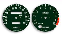 Yamaha RD400(76-78) Gauge Face Decals (Tach/Speedo). Reproduction decal true to original graphic. Must be applied over original gauge face and will eluminate like original gauges.Removal of original is required as well as dis-assembly of tach/speedo to acess gauge face.
