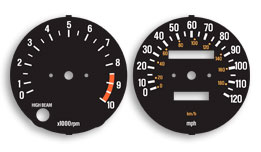 Yamaha RD400F DaytonaGauge Face Decals for Speedometer and Tachometer. Reproduction decal true to original graphic. Must be applied over original gauge face and will eluminate like original gauges.Removal of original is required as well as dis-assembly of tach/speedo to acess gauge face.